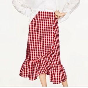 Zara Gingham Ruffle Skirt